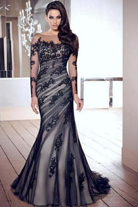 2017 Prom Dress,A-Line Evening Dress,Lace Prom Dress,Mermaid Prom Dress,Long prom dress