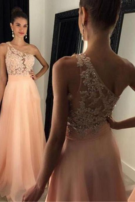 One Shoulder Prom dresses, Prom dresses 2017, One Shoulder Prom Dress, Lace Prom Dress, One Shoulder Evening Dresses