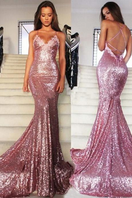 Prom Dresses,Evening Dress,Sequins Long Prom Dresses With Appliques ,2017 Sparkly Sequins Mermaid Evening Dress Formal Gowns
