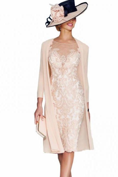 Elegant Women Dress,Custom Make Mother of the Bride Dresses,Mother of the Bride Lace Dresses,Full Sleeves Mother Dresses,Knee Length Women Dresses