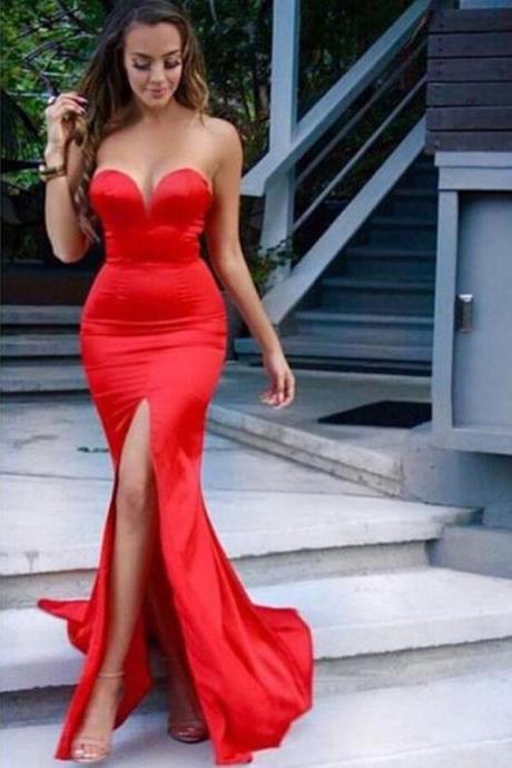 Red Prom Dresses,Evening Dress,Party Dresses,Mermaid Prom Dress, Mermaid Evening Dresses, Mermaid Formal Dresses, Mermaid Prom Dresses