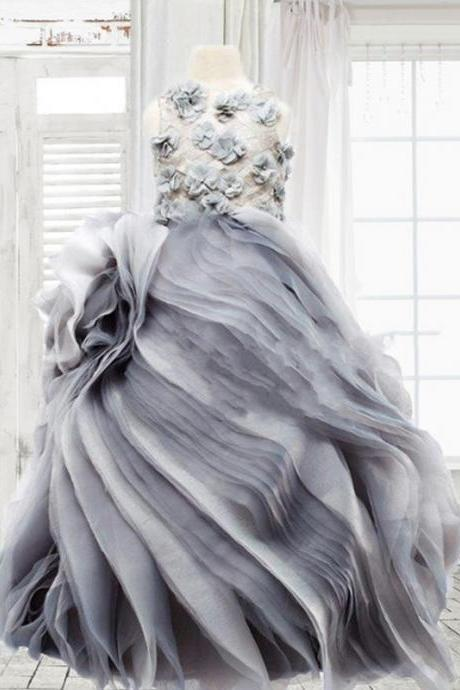 Custom Made Grey Floral Applique Chiffon Swirling Waved Tulle Ball Gown, Children Evening Dress, Kids Clothing, Party Frock, Flower Girl Dresses, First Holy Communion Dresses, Pageant Dress