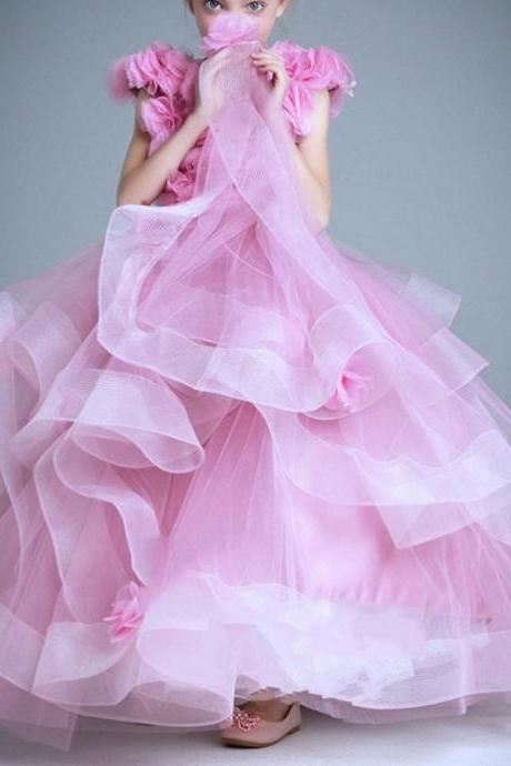 Round Neck Tulle Flowers Long A-line Flower Girl Dresses With Tiered