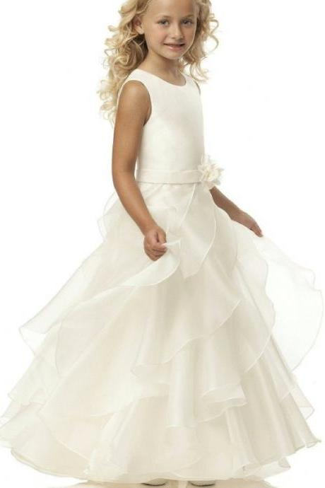 Round Neck Organza Long A-line Flower Girl Dresses With Belt