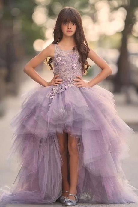 Handmade Flowers Little Girl Dresses, Flower Girl Dresses For Weddings, Purple Flower Girl Dresses, Tulle Flower Girl Dresses, Pageant Dresses For Girls, A Line Flower Girl Dresses, Cheap Short Front Long Back Little Girl Dresses
