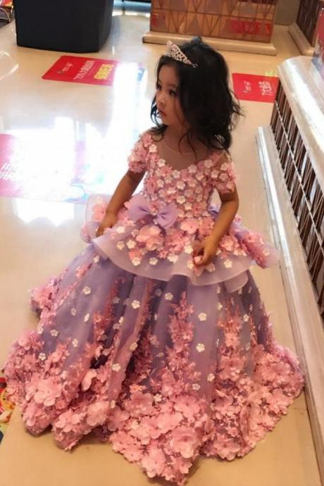 Flower Girl dress,shor sleeves flower girl dress, Light pink bridesmaid dress, Light Pink flower girl dress, Baby girl birthday outfit, Pink floral dress, Pale pink flower girl dress