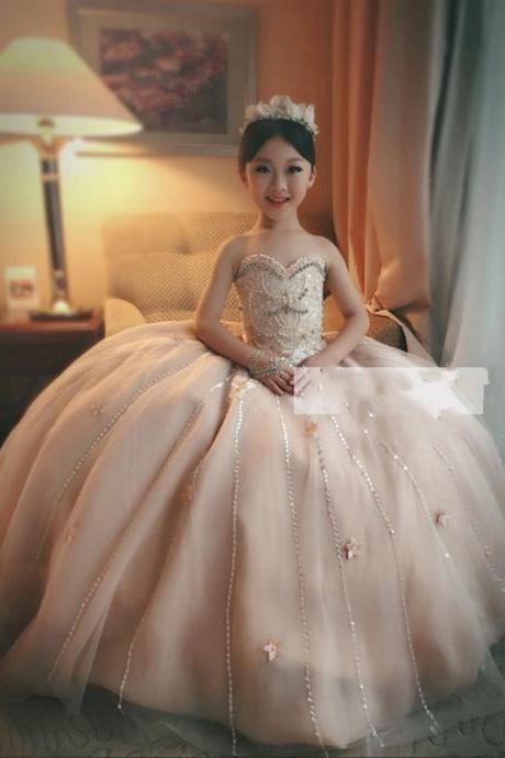 2017 Girls Sweetheart Neck Beads Flower Girl Pageant Ball Gowns Tulle Beading Flowergirl Party Dresses Pink Flower Girl Dress