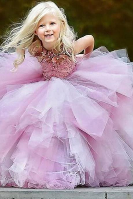 Princess Flower Girl Dresses, Purple Flower Girl Dresses,Pretty Flower Girl Dresses, Girls Wedding Party Dresses, Custom Made Girl Dress for Girl