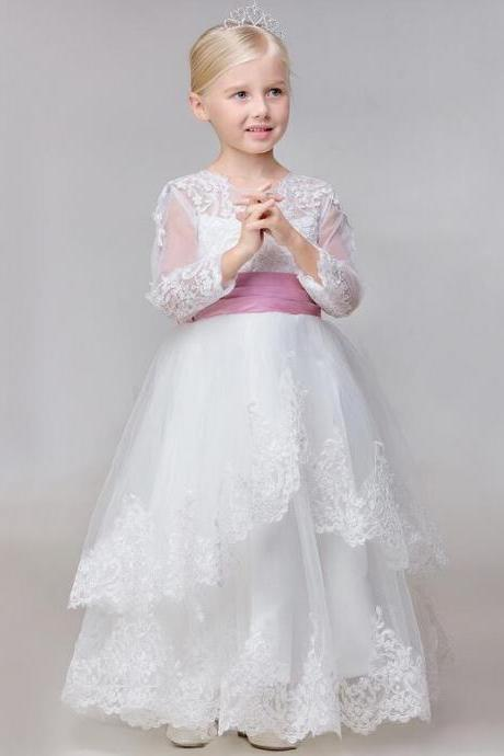 A-line/Princess Scoop Long Sleeves Bowknot Floor-length Tulle Flower Girl Dresses