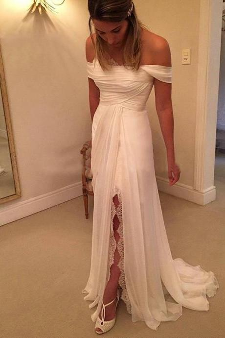 Fashion 2016 Off Shoulder Bridal Gowns Sweep Train A LINE Lace Long Front Split Wedding Dress